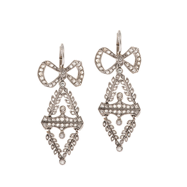 Edwardian Diamond Bow Earrings