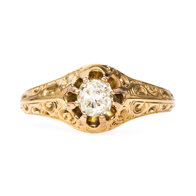 Elkhorn Vintage Gold Old Mine Cut Diamond Engagement Ring from Trumpet & Horn