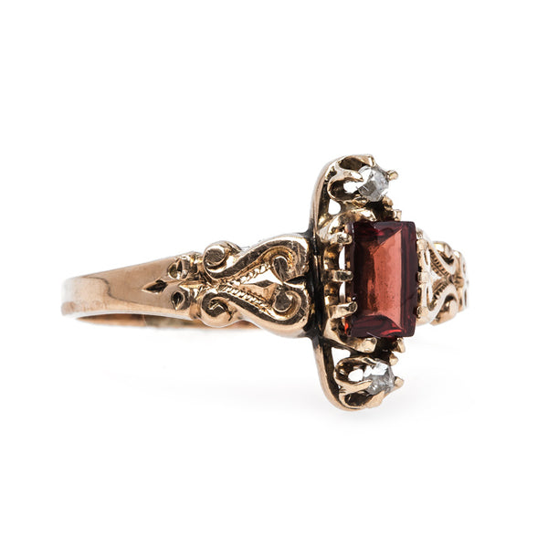 Sweet Victorian Era Rose Gold Ring with Garnet and Diamonds | Elkin from Trumpet & Horn