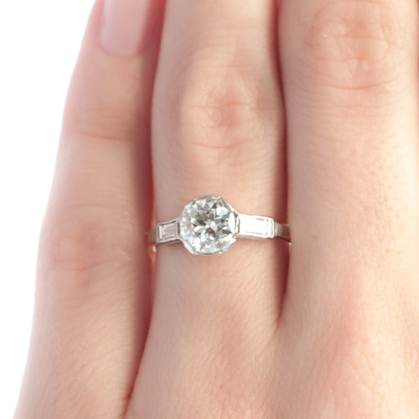Elm Court vintage diamond three stone engagement ring from Trumpet & Horn