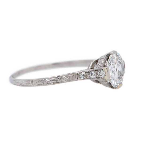 Bright White GIA Old European Edwardian Engagement Ring | Elmwood at Trumpet & Horn