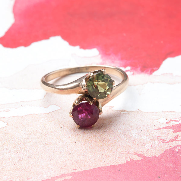 Victorian Era Moi et Toi Ring with Ruby and Green Sapphire | Everglades