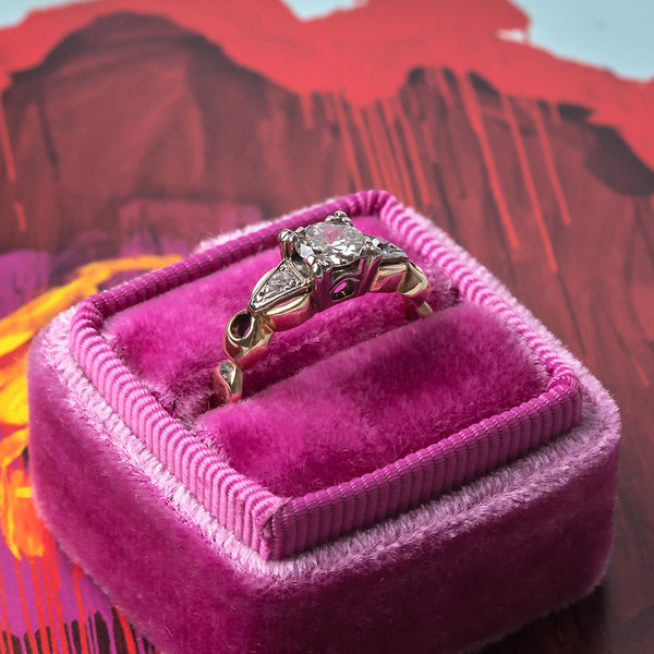 Sparkling Retro Era Engagement Ring with Old European Cut Diamonds | Excelsior from Trumpet & Horn