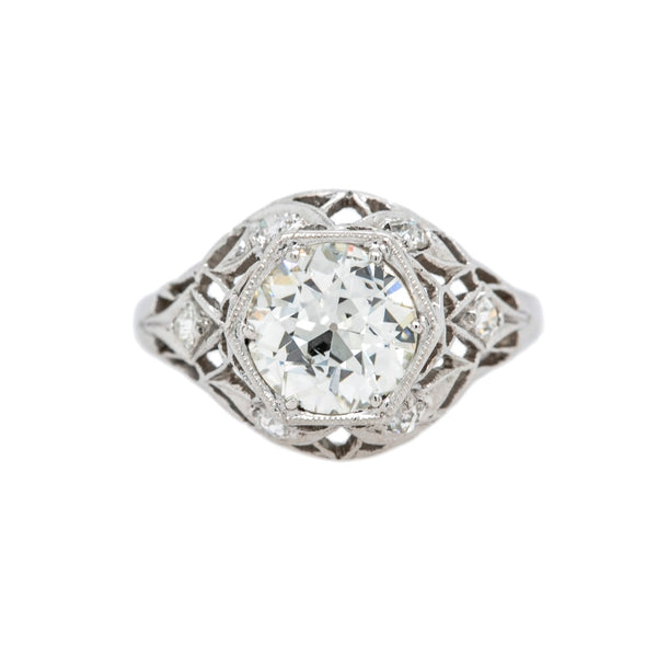 Lacy Platinum & Diamond Edwardian Bombe Engagement Ring in Hexagon Setting | Hidden Hollow