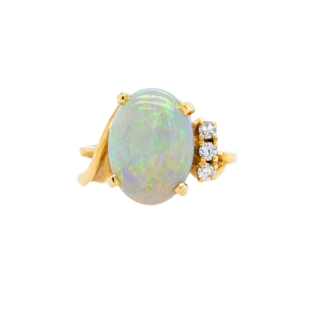 Playful & Colorful Mid-Century Opal & Diamond Ring | Rockhampton