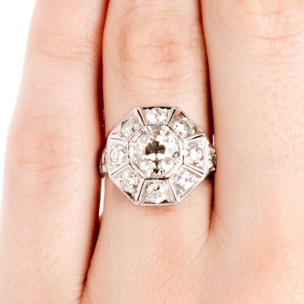 Vintage Diamond Halo Engagement Ring