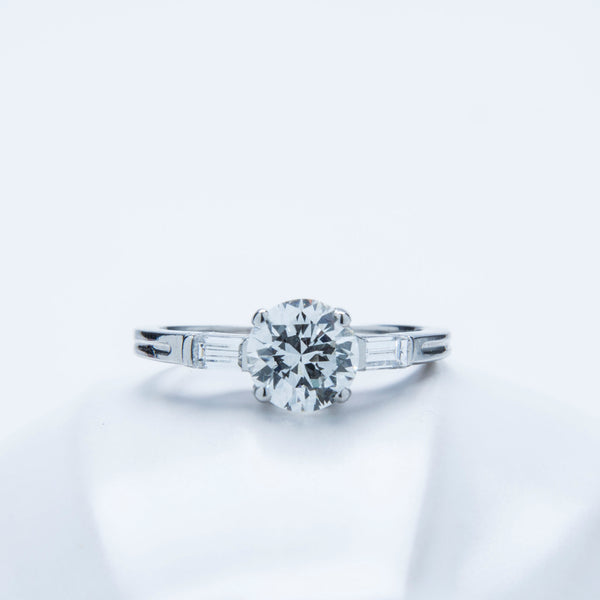 A Pretty and Authentic Mid Century Platinum and Diamond Engagement Ring | Fairfield Woods