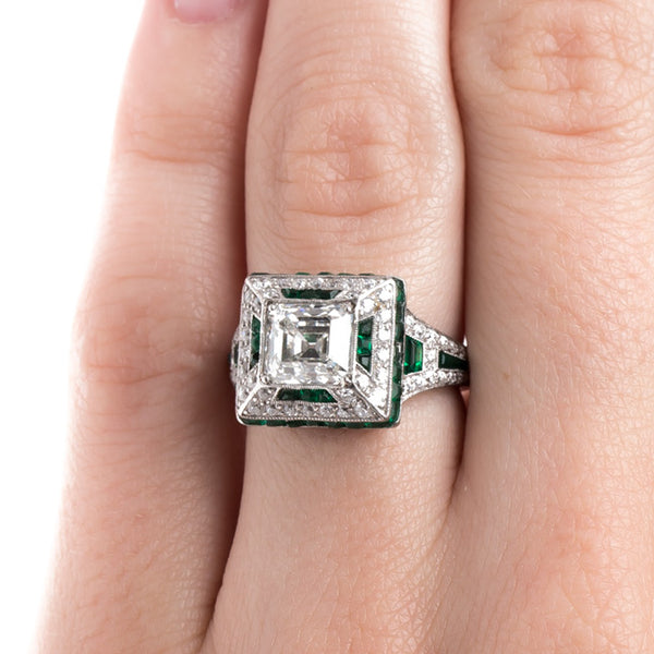 Classic Art Deco Diamond and Emerald Ring | Fairmont Park