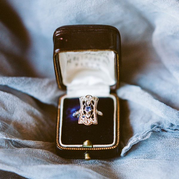 Enchanting Early Victorian Navette Ring with Cornflower Blue Sapphire | New Rochelle | Photo by Faith Teasley