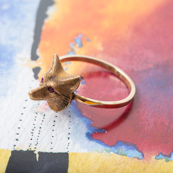 Whimsical Fox Ring with Ruby Eyes | Felix from Trumpet & Horn