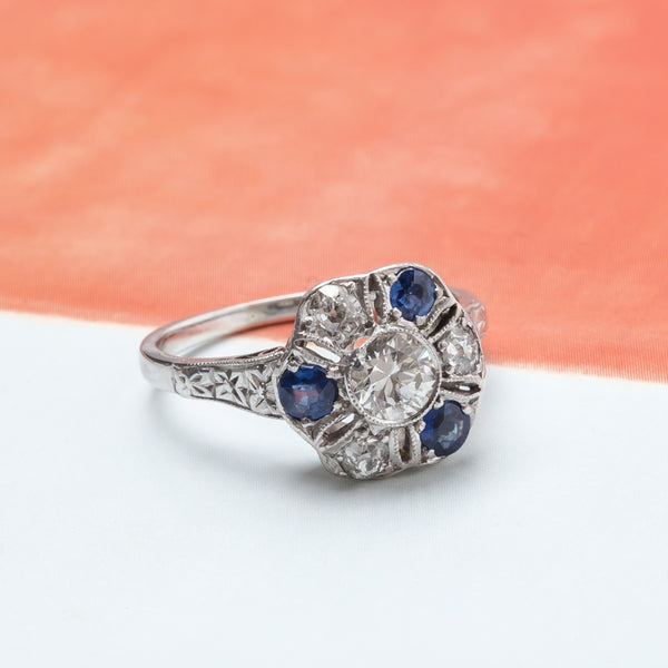 Whimsical Vintage Art Deco Sapphire and Diamond Flower Ring | Fieldbrook from Trumpet & Horn