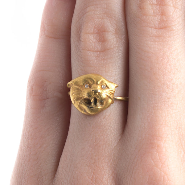 Victorian Era Yellow Gold Cat Ring | Figaro from Trumpet & Horn