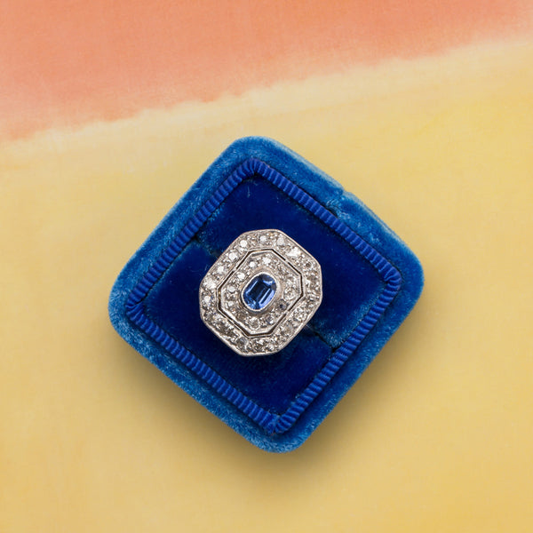 Fisher Island vintage diamond and sapphire halo ring from Trumpet & Horn