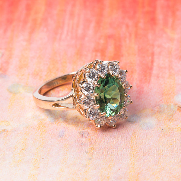 Vintage Inspired Mint Garnet Ring with Diamond Halo | Fitzgerald from Trumpet & Horn