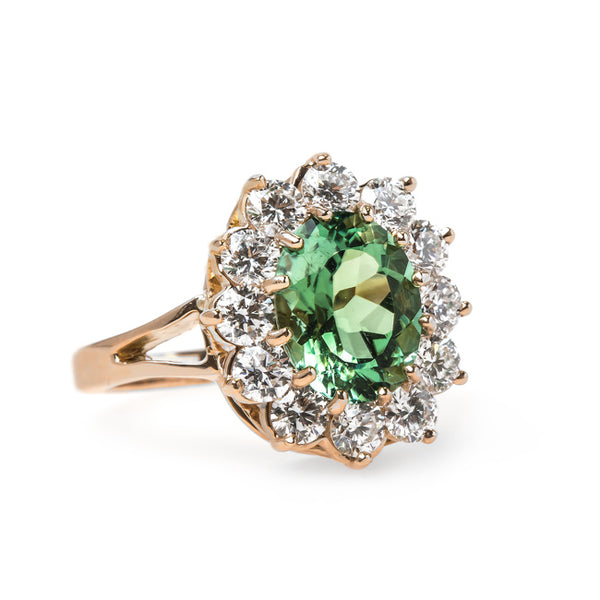 Vintage Inspired Afghan Tourmaline Ring with Diamond Halo | Fitzgerald from Trumpet & Horn