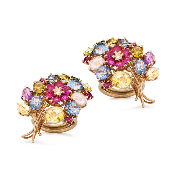 1960's Floral Ring & Earring Set