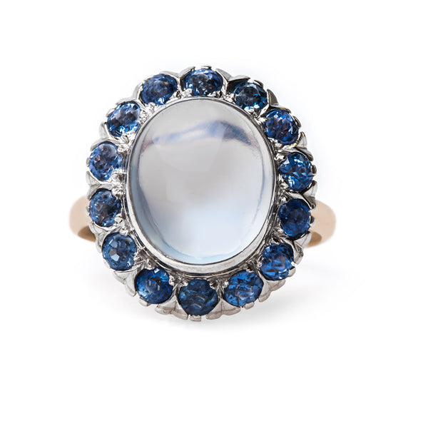 Dreamy Cocktail Ring with Moonstone and Sapphire Halo | Floriston from Trumpet & Horn