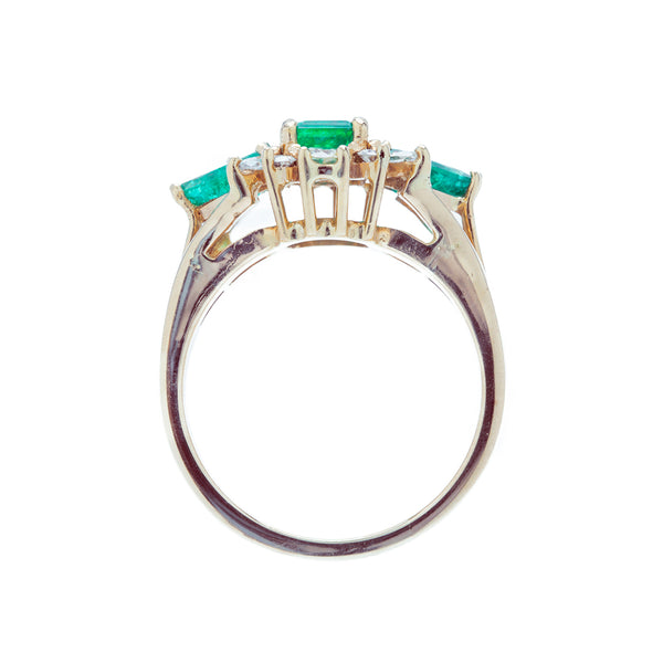 A Gorgeous Emerald and Diamond Three-Stone Ring From the 1980's | Forteleza