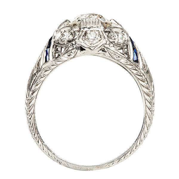 Fox Lake Vintage Diamond Sapphire Engagement Ring from Trumpet & Horn