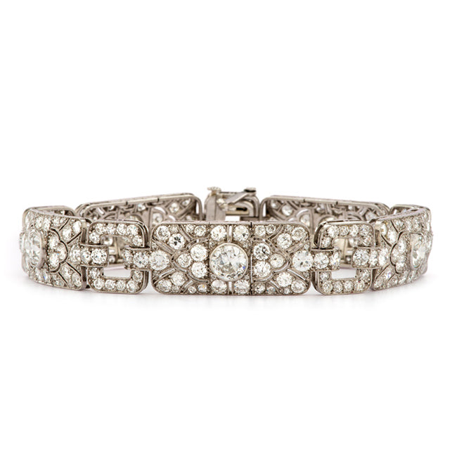 bracelet deco art floral pattern side diamond