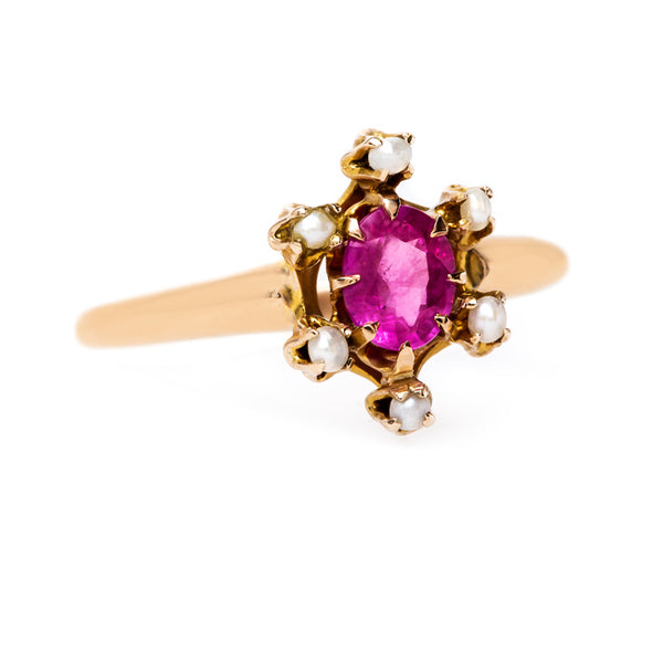 Lovely Feminine Pink Sapphire and Pearl Ring | Gardena from Trumpet & Horn