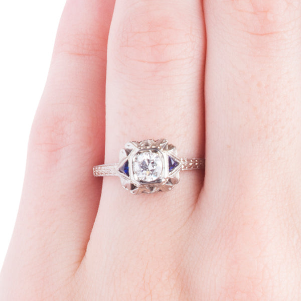 Vintage Engagement Ring | Vintage Sapphire and Diamond Ring from Trumpet & Horn