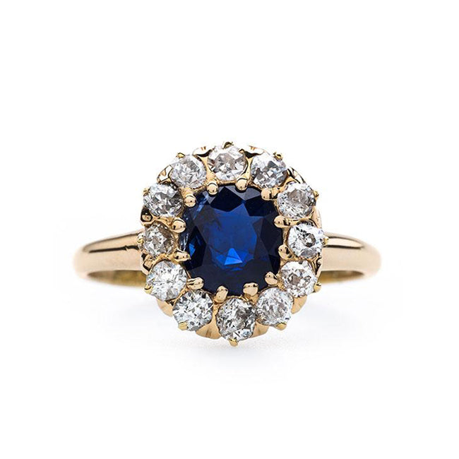 Beautifully Saturated Cushion Cut Sapphire Ring | Garvanza from Trumpet & Horn
