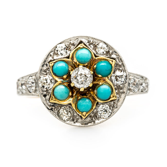 Unique and Unusual Art Nouveau Turquoise Ring | Gatesville from Trumpet & Horn