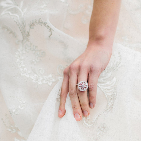 Vintage Inspired 18K White Gold Ring with Geometric Diamonds | Gatsby | Photo by Rachel May