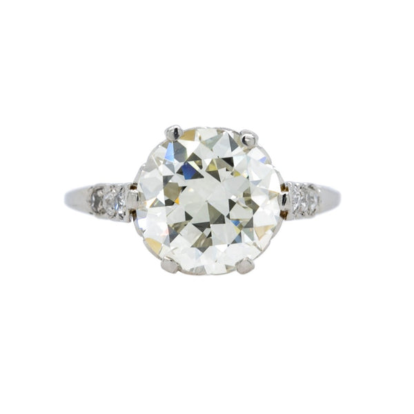 Antique Three Carat Diamond Solitaire Engagement Ring | Geneva Walk