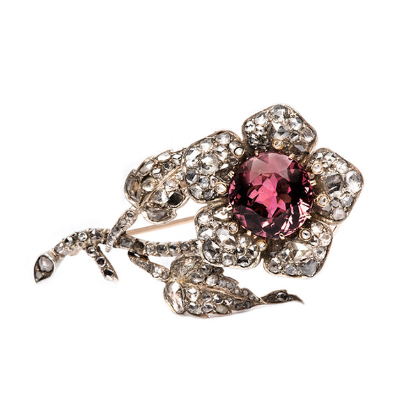 Georgian Tourmaline Flower Brooch