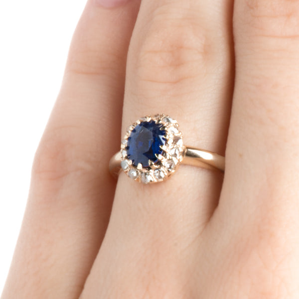 antique sapphire and diamond halo ring