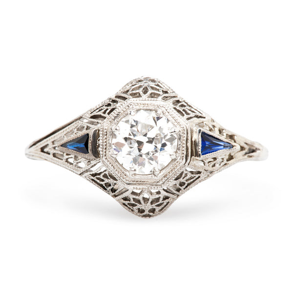 Art Deco Unique Sapphire Engagement Ring | Glenbrook from Trumpet & Horn