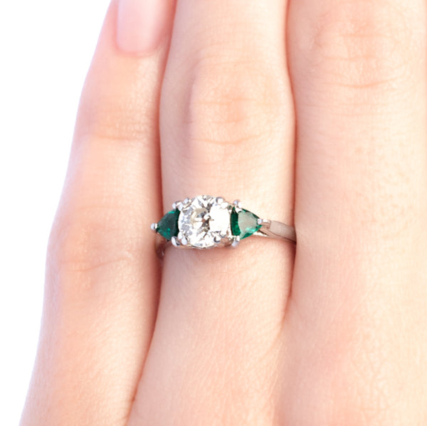Glen Holly vintage diamond and emerald engagement ring from Trumpet & Horn