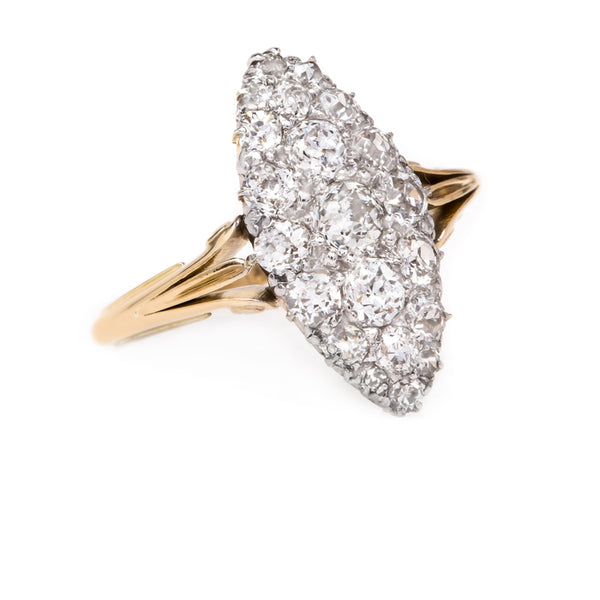 Glittering Marquise Shaped Engagement Ring with Old Mine Cut Diamonds | Glenvale from Trumpet & Horn