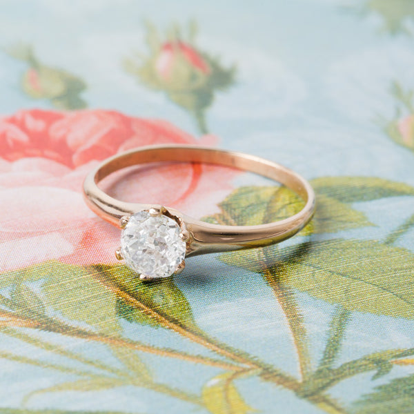 Simple Rose Gold Victorian Solitaire | Gold Beach form Trumpet & Horn