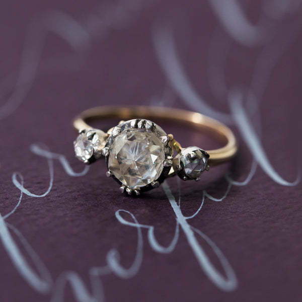 Incredibly Special and Important Georgian Era Three Stone Rose Cut Ring | Goodhaven from Trumpet & Horn