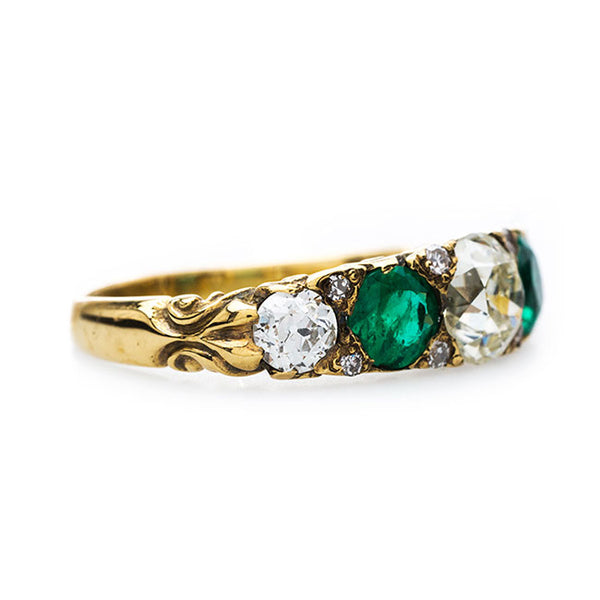Late Victorian Era Diamond and Emerald Ring | Greenbrier from Trumpet & Horn