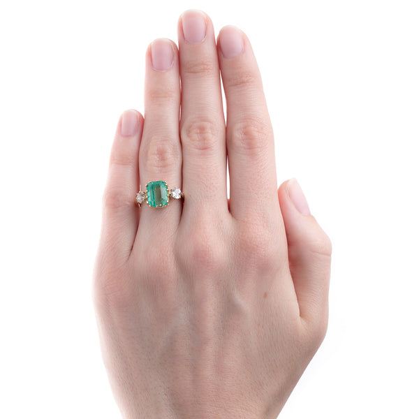 Magnificent Art Deco Lightly Saturated Emerald Ring | Greenhills from Trumpet & Horn