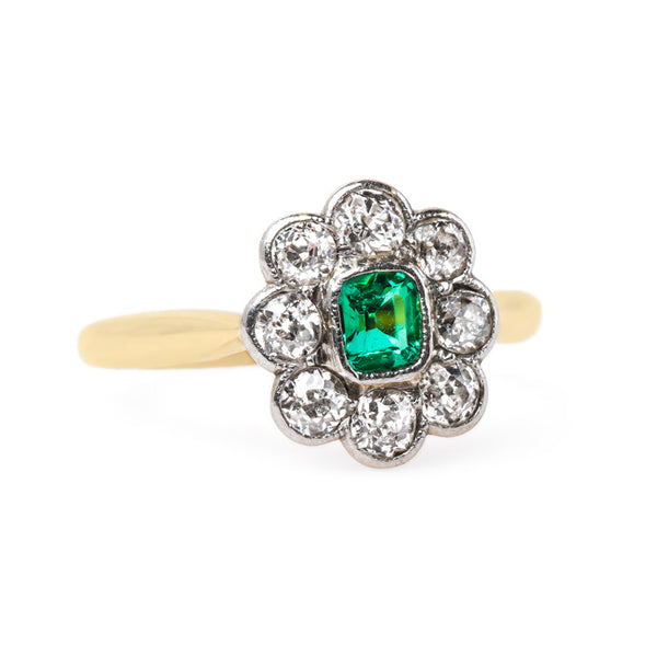 Late Victorian Ring with Floral Motif and Emerald Center | Greenlake from Trumpet & Horn