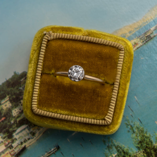 Greylands vintage solitaire diamond engagement ring from Trumpet & Horn