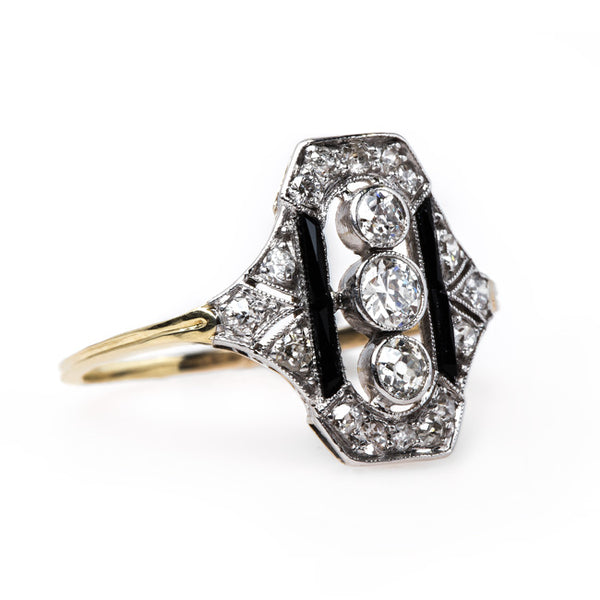 Edwardian Era Navette Ring with Diamonds and Onyx | Griffith from Trumpet & Horn