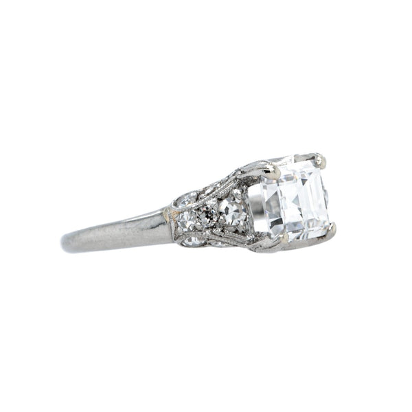 A Stunning Art Deco Platinum and Carre Cut Diamond Engagement Ring | Groveland