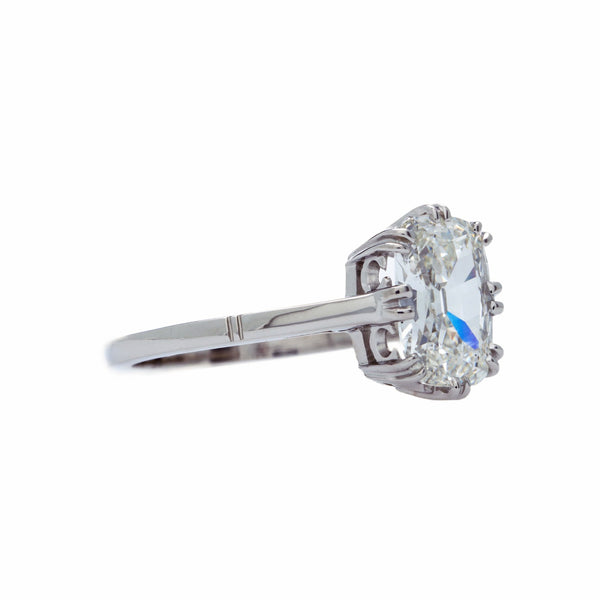A Magnificent Edwardian Inspired Platinum and Cushion Cut Diamond Engagement Ring