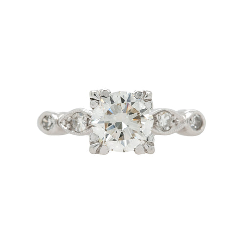 Whimsical Mid-Century Diamond Engagement Ring with Marquise and Round Shaped Bezels | Hanbury