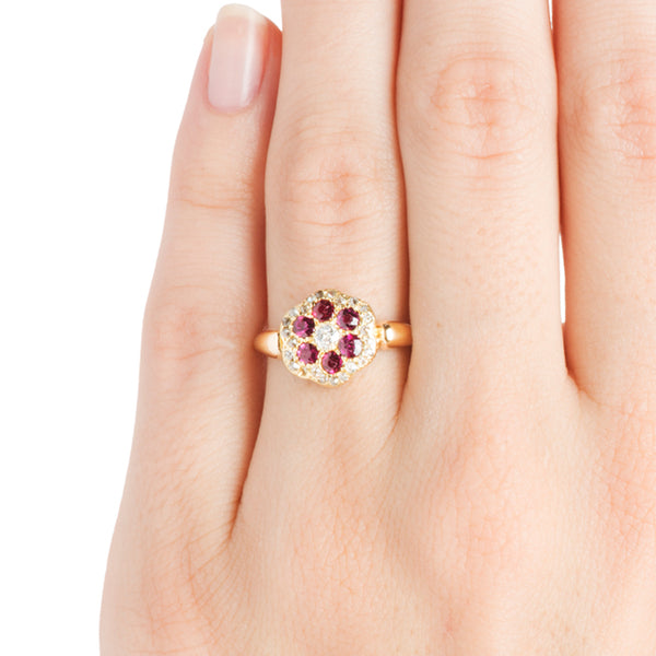Stansbury | Vintage Ruby Old Mine Cut Diamond Engagement Ring | Victorian Antique Cluster Cocktail Ring from Trumpet & Horn