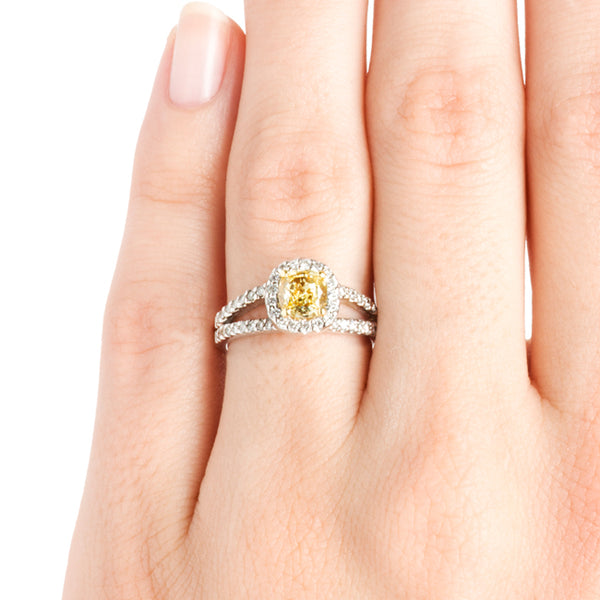 Annapolis Contemporary Fancy Yellow Diamond Halo Engagement Ring from Trumpet & Horn