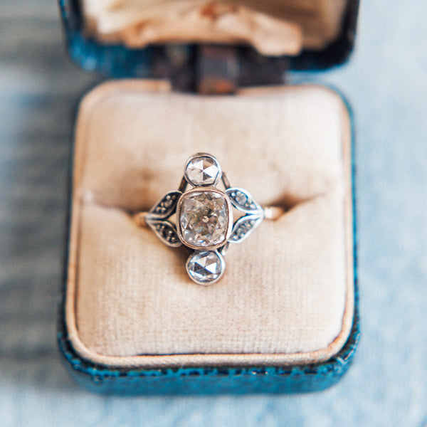 Vintage Art Nouveau Engagement Ring with Extremely Unique Design | Herringbone from Trumpet & Horn | Photo by Hannah Forsberg