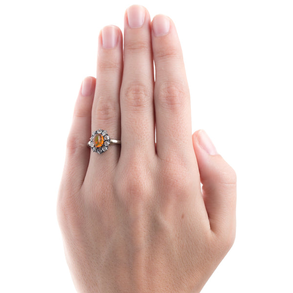 Dazzling Fire Opal with Diamond Halo | Harbor Island from Trumpet & Horn