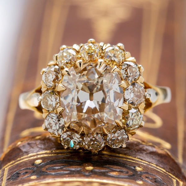 Sparkling Victorian Old Mine Cushion Diamond Cluster Ring | Harborview